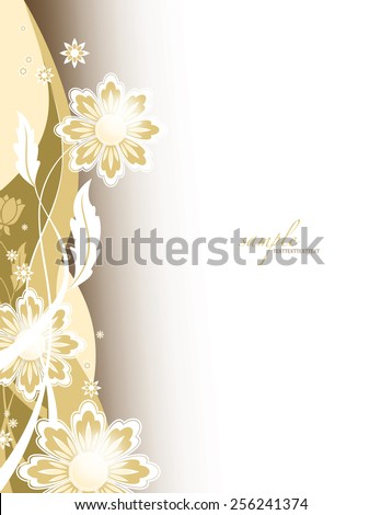 Floral Golden Vector Background. - stock vector