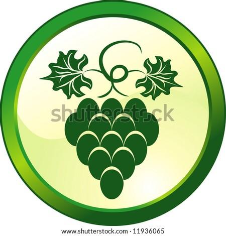 Floral grape glass button - stock vector