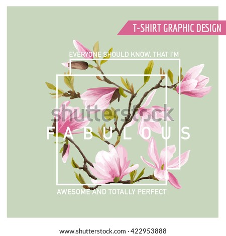 Floral Graphic Design. Magnolia Background. Fashion Print. T-shirt Design. Vector Design. Flower Design Border. Summer Design Element. Spring Floral Blooms.  - stock vector