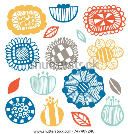 Floral Graphic Design Trendy Creative Hand Drawn Abstract Flowers And Leaves