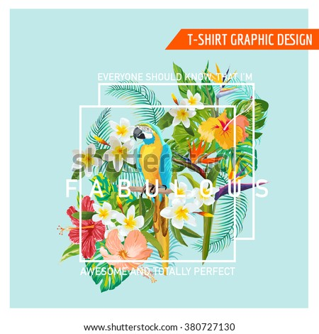 Floral Graphic Design - Tropical Flowers and Bird - for t-shirt, fashion, prints - in vector - stock vector