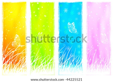 Floral grassy vertical banners (other landscapes are in my gallery)