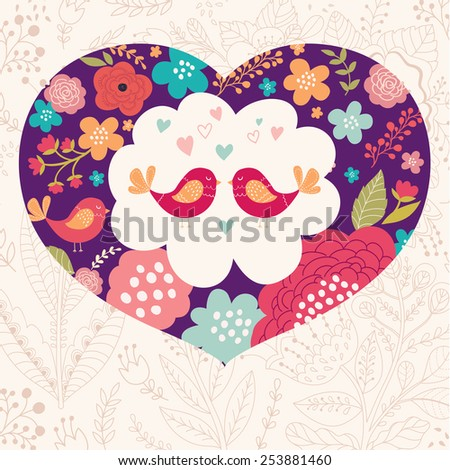 Floral greeting card with heart - stock vector