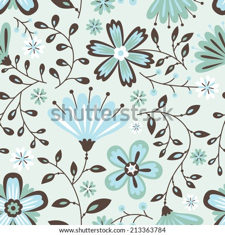 Floral grey abstract seamless pattern - stock vector