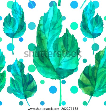 Floral grunge seamless pattern. Spring leaves with unusial background. Vector watercolor illustration