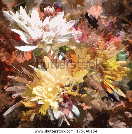 Floral grunge stained colorful background with chrysanthemums - stock vector