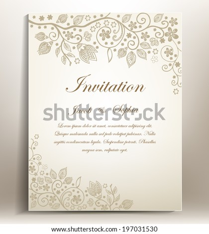 Floral hand-draw wedding invitation. a beautiful hand drawn wedding invitation ,suitable also for congratulation,greeting cards...