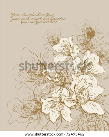 floral hand drawn background with blooming orchids - stock vector