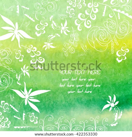 Floral hand-drawn card, curvy branch and flower  elements. Watercolor background. - stock vector