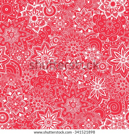Floral  hand drawn seamless pattern. Doodle vector background. Indian ornament, henna pattern in mendy style.