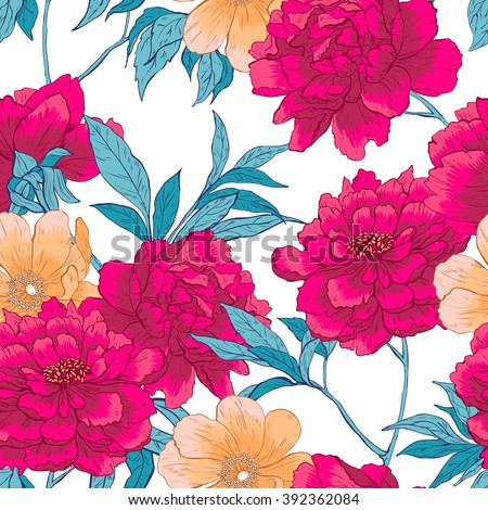Floral hand drawn vintage vector seamless pattern with flowers and leaves.  - stock vector