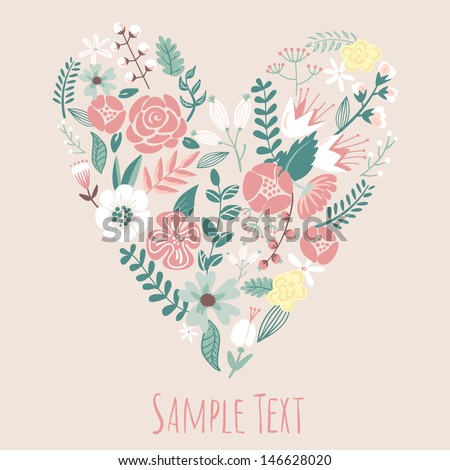 Floral Heart Card. Cute retro flowers arranged un a shape of the heart, perfect for wedding invitations ans birthday designs  - stock vector