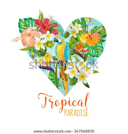 Floral Heart Graphic Design - Tropical Flowers and Bird - for t-shirt, fashion, prints - in vector - stock vector