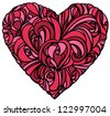 floral heart on white background - stock vector