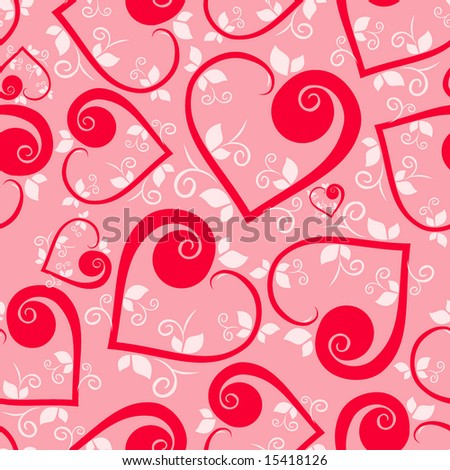 Floral heart Seamless pattern - stock vector