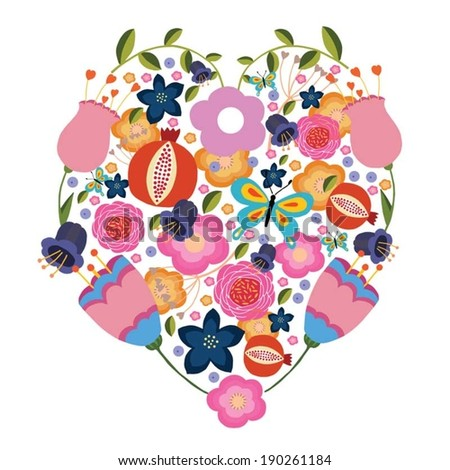 Floral heart vector made from original drawing
