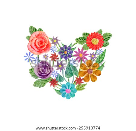 Floral heart with flowers. Vector, EPS 10
