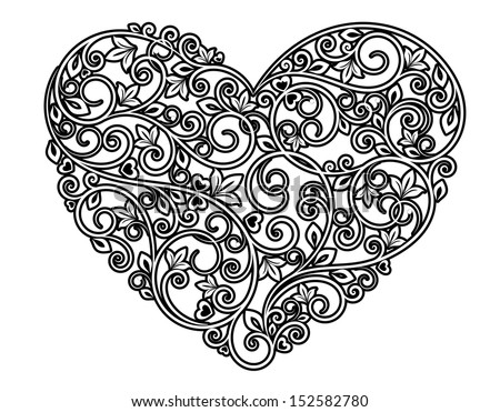 Floral heart with ornamental elements isolated on white background. Jpeg version also available in gallery - stock vector