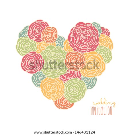 Floral heart with roses . Vector illustration for save the date or wedding invitation cards  - stock vector