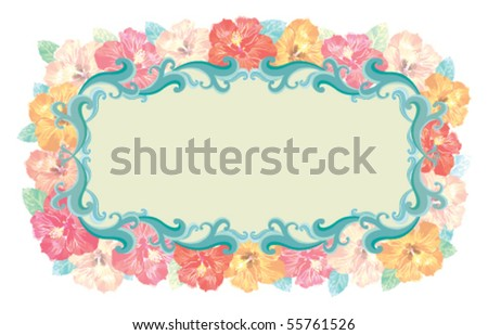 Floral - Hibiscus frame. Vector without gradients, great for printing. - stock vector