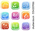 floral icons - stock vector