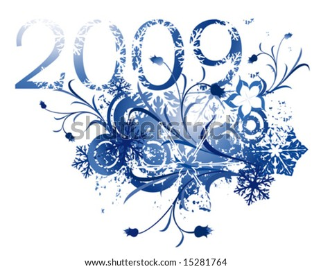 floral illustration for the new year 2009