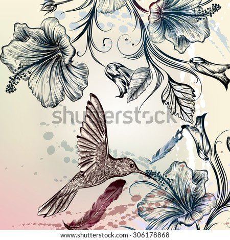 Floral illustration in vintage style with hummingbird and hibiscus flowers - stock vector