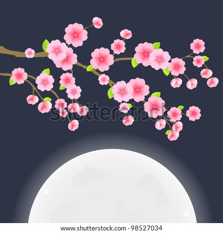 Floral Image. Branch of Sakura Cherry Tree on Dark Blue Sky with Huge Moon. Japanese Vector Illustration - stock vector