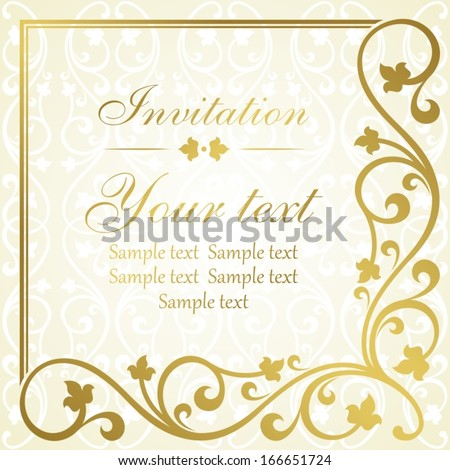 Floral invitation card.  - stock vector