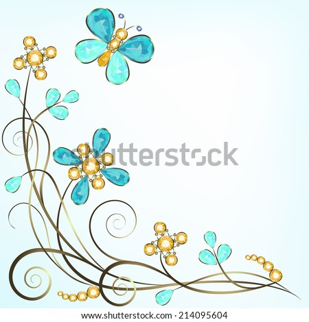 Floral jewelry pattern border isolated on white