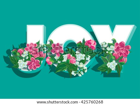 Floral joy Graphic Design with peony and jasmine