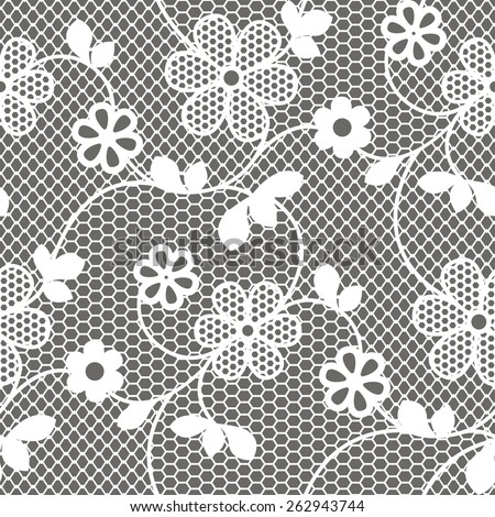 Floral lace vector seamless pattern. Vintage lacy background. - stock vector
