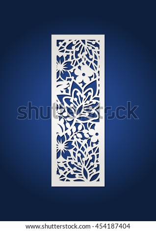 ... flower botanical ornament. For cutting machines. Filigree bookmark