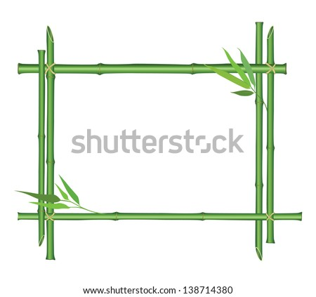 Floral leaves border.  Bamboo stem and leaves frame isolated on white background. Summer flourish wallpaper - stock vector