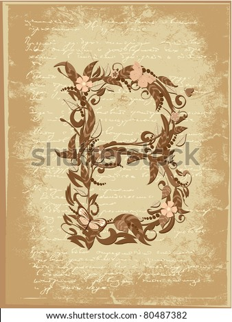 Floral letter on paper grunge - stock vector