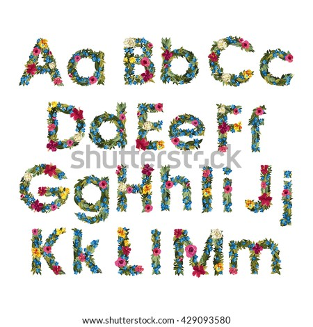 Floral Letters. Flower Capital Uppercase and Lowercase Alphabet . Colorful font. Vector illustration. Grotesque style. Floral alphabet.   - stock vector