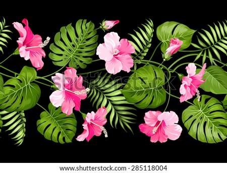 Floral linear tile design. Design for print. Elegant card pattern. Vector illustration. - stock vector