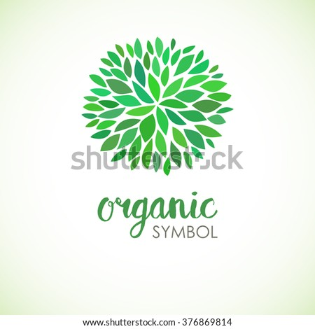 Floral logo design template. Green life and organic ornamental concept. Can be used for organic shop or spa and beauty salon, yoga studio and healthy clinic. - stock vector