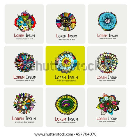 Floral logo set for your design - stock vector