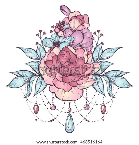 Floral magic composition in vintage boho style. Vector Illustration. Graphic flowers, leaves, sticks, buds, beads in pastel colors. Design element for invitation, tattoo