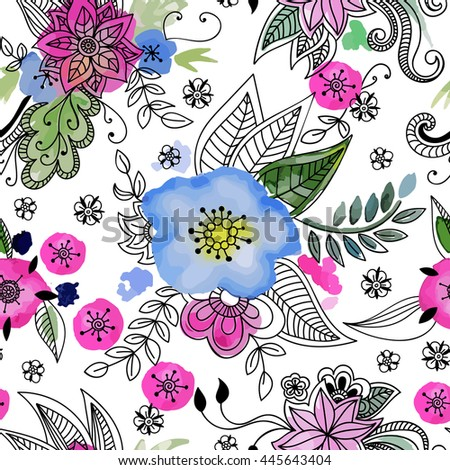 Floral mandala seamless pattern. Hand drawn flowers and blots. Vector illustration.