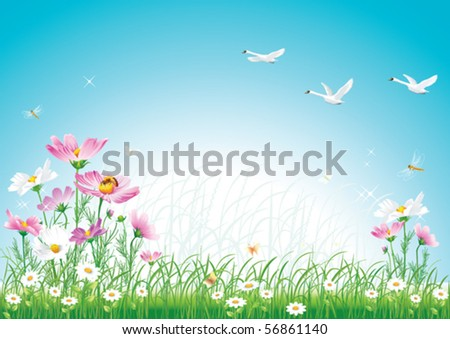 floral meadow with swan - stock vector