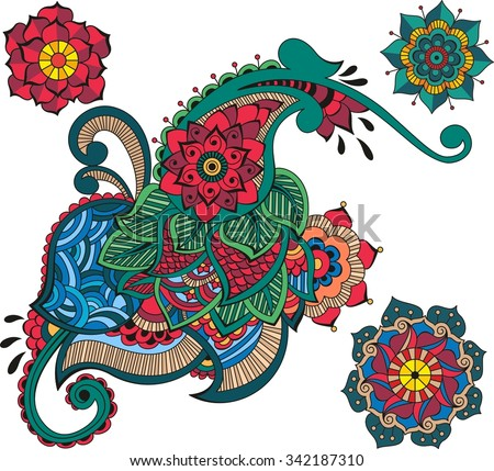 Floral mehndi ornamental elements - stock vector