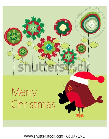 floral merry christmas greeting card illustration design