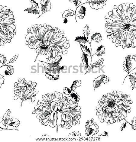Floral minimalistic seamless pattern - stock vector
