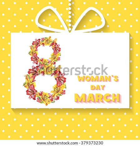 Floral number - 8 (eight) from flowers. Greeting card, Gift card  with March 8. International Women's Day. Flower composition - easy to change for your design project, greeting cards, holiday design - stock vector