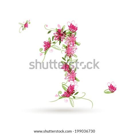 spring letter j spring floral font letter j stock vector 73836634 shutterstock