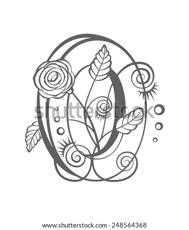 Floral number zero for your design. Vector illustration - stock vector