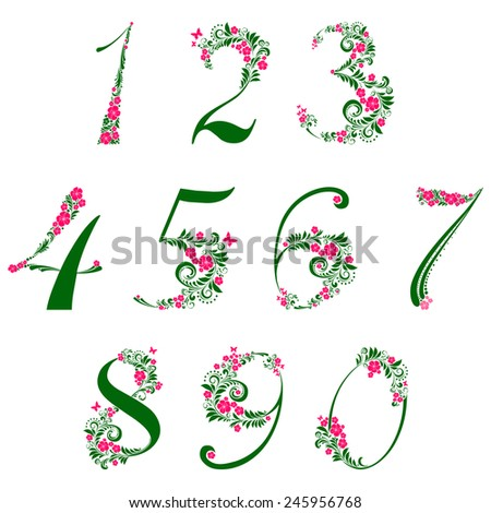 Floral numbers set isolated on White background. Vector illustration  - stock vector