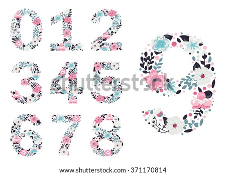 Floral numbers. Vector isolated illustration on white background  - stock vector